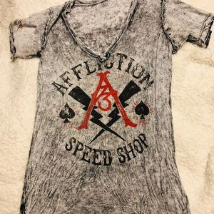 Affliction reversible t shirt
